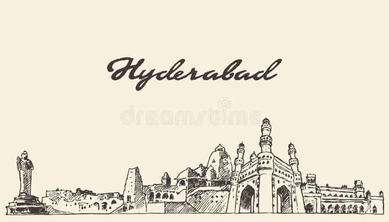 Hyderabad horizon vectorillustratie getrokken schets royalty-vrije illustratie