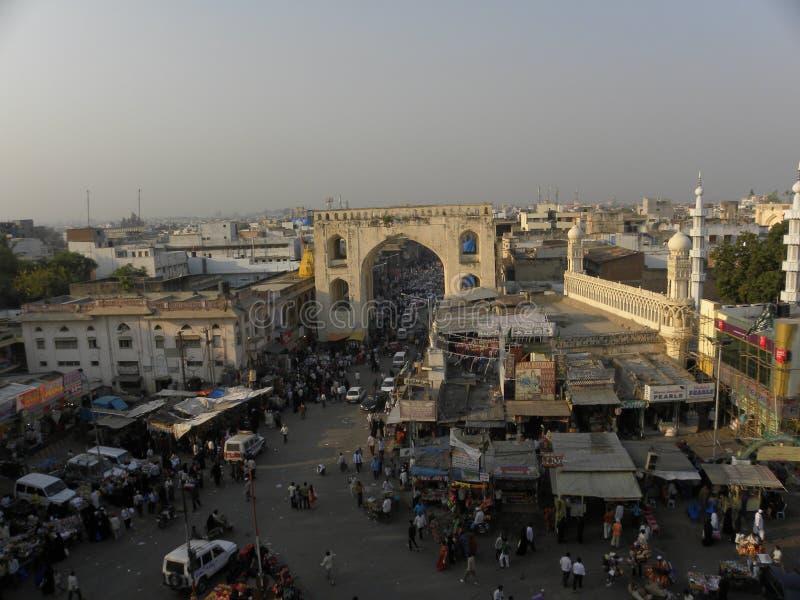 Hyderabad, Inde - 1er janvier 2009 vue de ville de Hyderabad du haut de Charminar photos libres de droits
