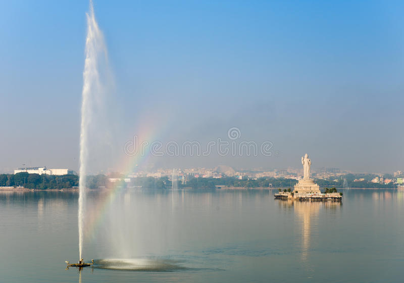 Hyderabad, India. The landmark Buddha statue in Hyderabad, India royalty free stock image
