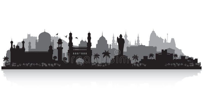 Hyderabad India city skyline silhouette. Hyderabad India city skyline vector silhouette illustration royalty free illustration