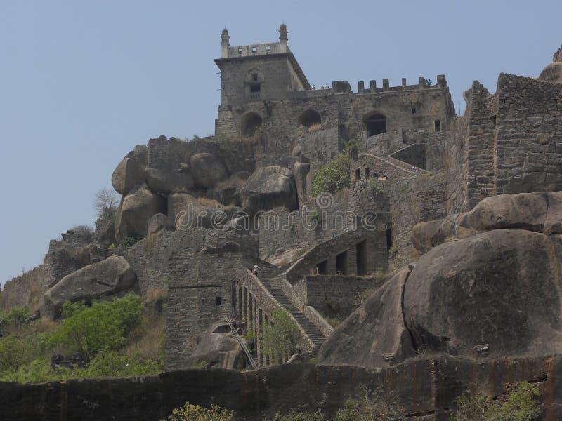 Hyderabad, India - Januari 1, de Archeologische plaats van 2009 bij Golconda-fort royalty-vrije stock fotografie