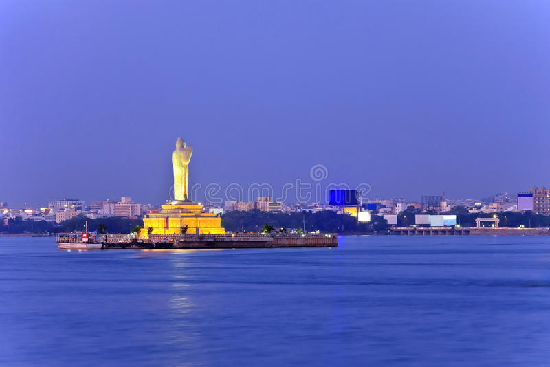 Hyderabad, India. Monolithic statue of the Gautam Buddha in the middle of the lake Hussain Sagar , India royalty free stock photography