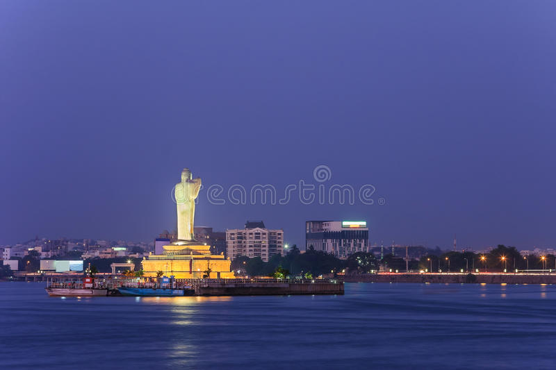 Hyderabad India. Monolithic statue of the Gautam Buddha in the middle of the lake Hussain Sagar, Hyderabad, India stock images