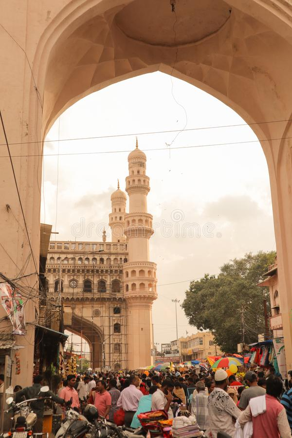 Hyderabad, India october 12,2019 - Busy Crowd near Charminar through Arch.  royalty free stock photography