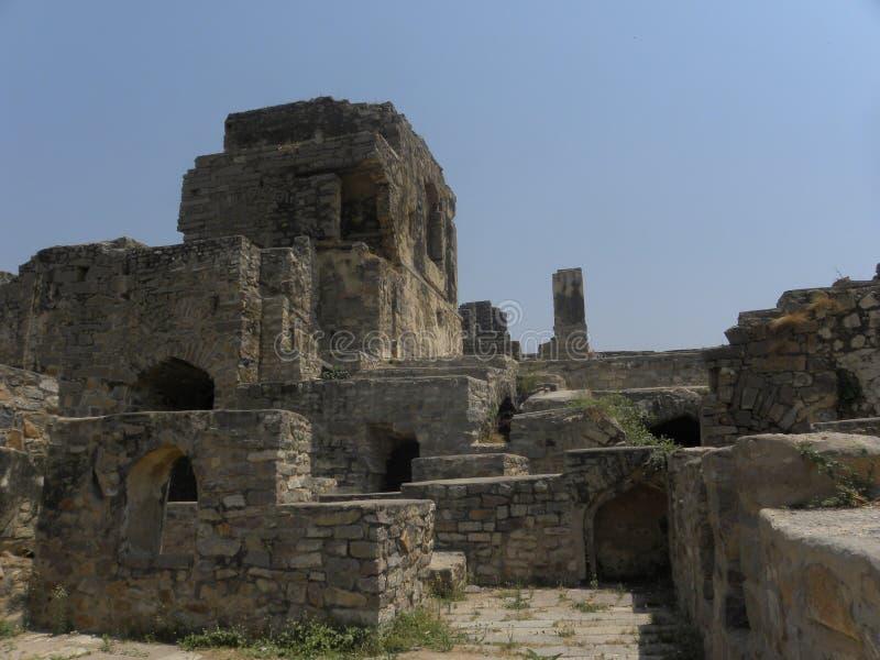 Hyderabad, Indien - 1. Januar 2009 alte Ruinen vom Schloss, Golconda-Fort lizenzfreies stockfoto