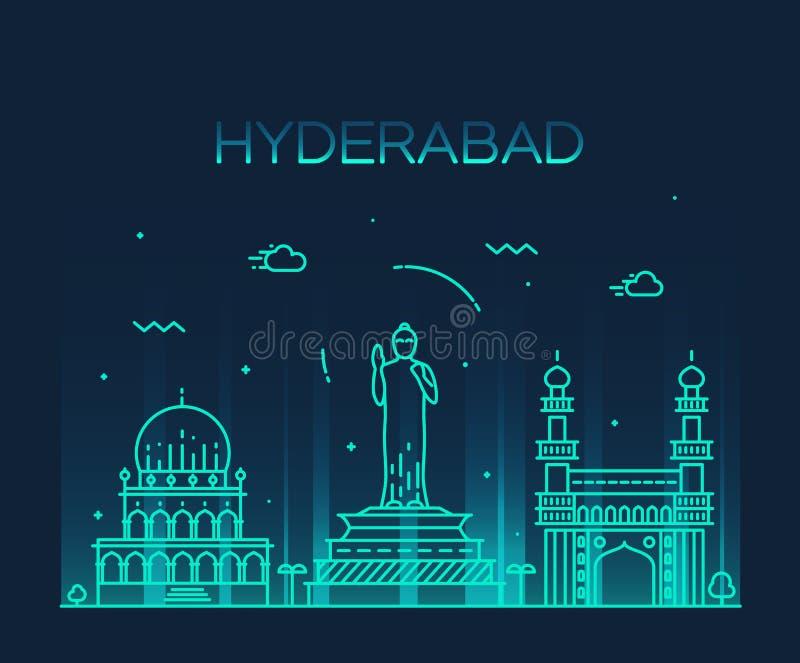 Hyderabad lineaire horizon vectorillustratie vector illustratie