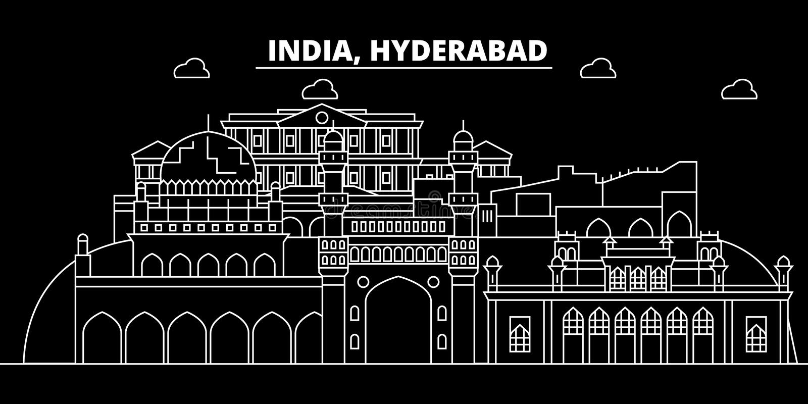 Hyderabad silhouette skyline. India - Hyderabad vector city, indian linear architecture, buildings. Hyderabad travel. Hyderabad silhouette skyline. India stock illustration