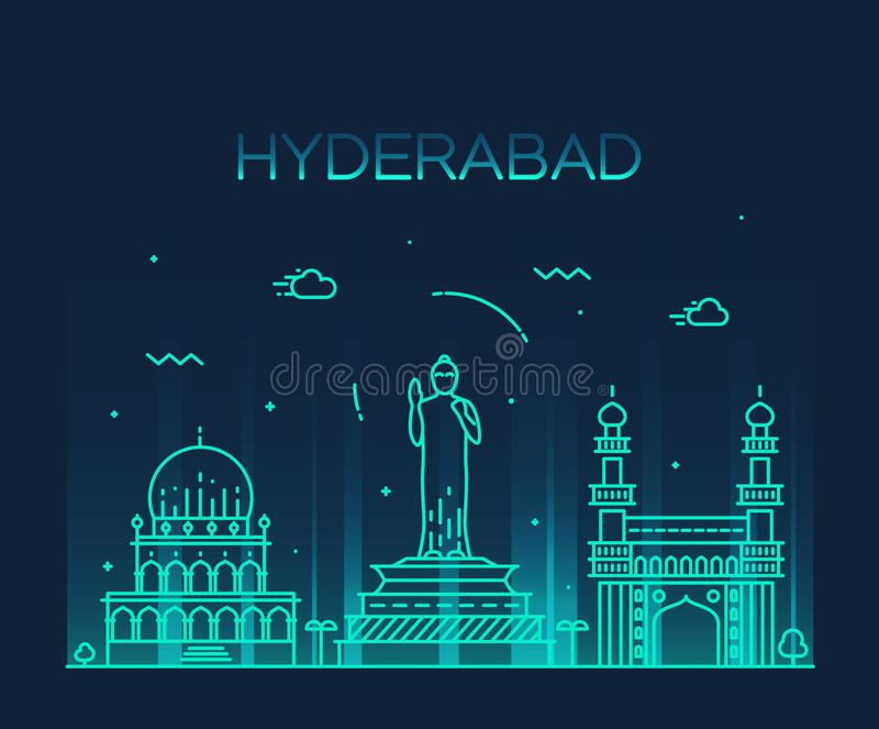 Hyderabad skyline vector illustration linear. Hyderabad skyline detailed silhouette Trendy vector illustration linear style vector illustration