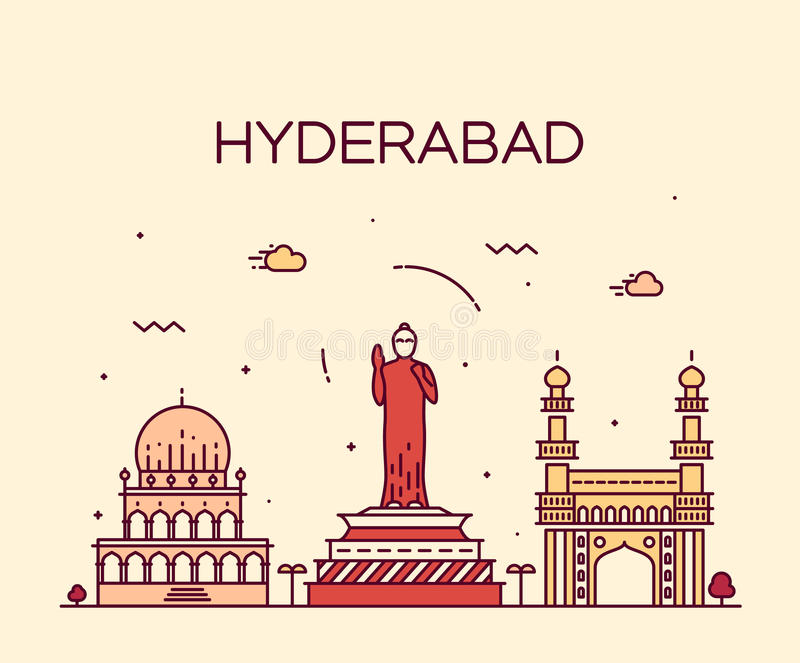 Hyderabad skyline vector illustration linear. Hyderabad skyline detailed silhouette Trendy vector illustration linear style royalty free illustration
