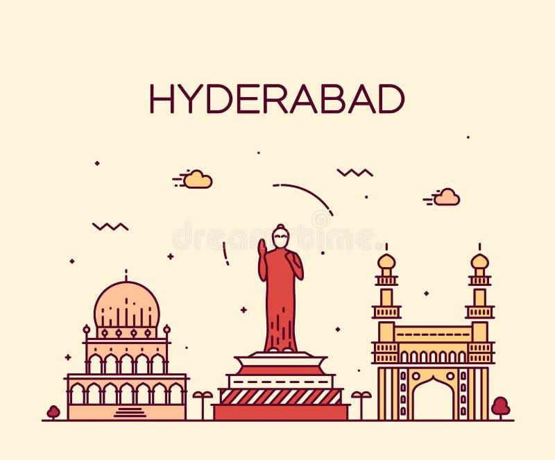 Hyderabad-Skylinevektorillustration linear lizenzfreie abbildung