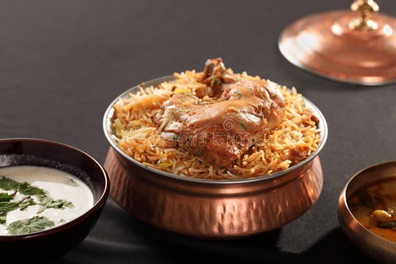 Hyderabadi Biryani - un pollo o un cordero popular basó Biryani fotografía de archivo libre de regalías