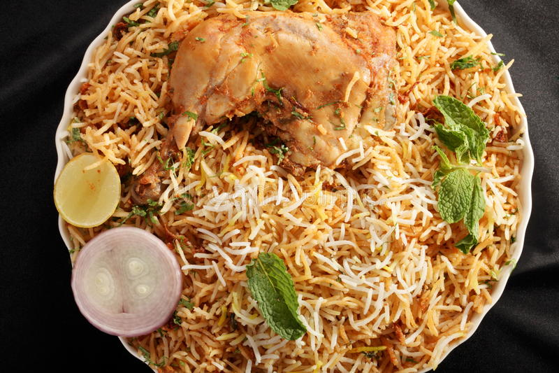 Hyderabadi Biryani - un poulet ou un mouton populaire a basé Biryani image stock