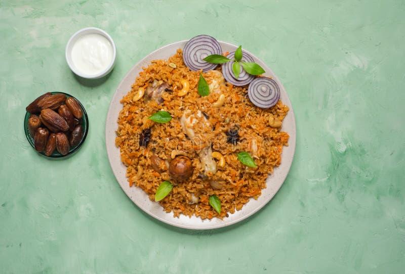 Hyderabadi chicken biryani. The view from the top. stock photo