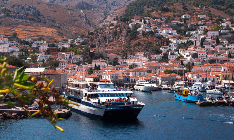 Hydra Island, Greece. Hydra (Greek: Ύδρα, pronounced [ˈiðra] in modern Greek) is one of the Saronic Islands of Greece, located in the Aegean royalty free stock image