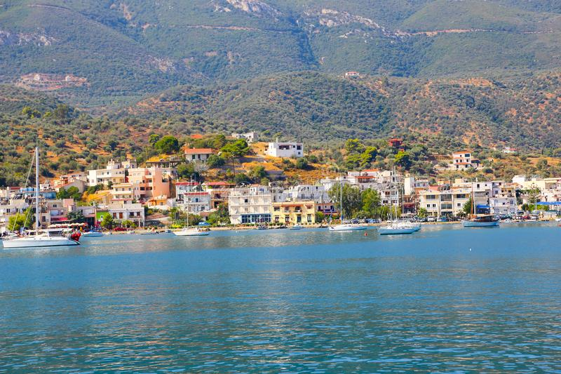 Hydra Island, Greece. JUNE 13 2015 Many tourists visiting and shopping at market street in old town stock image