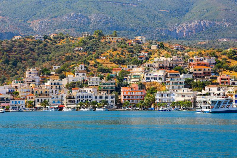 Hydra Island, Greece. JUNE 13 2015 Many tourists visiting and shopping at market street in old town royalty free stock images