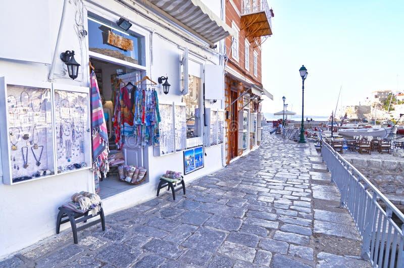 Touristic shops at Hydra island Saronic gulf Greece stock photography