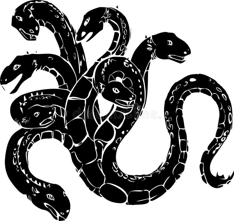 Hydra stock vector. Illustration of snake, black, mystical ...
