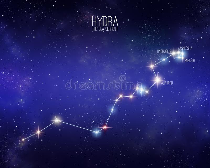 Hydra the sea serpent constellation on a starry space background royalty free illustration