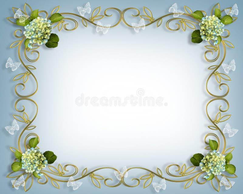 hydrangea бабочек граници флористический бесплатная иллюстрация
