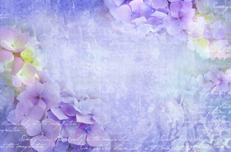 Hydrangea hortensia bloemenprentbriefkaar Kan als groetkaart, uitnodiging voor huwelijk, verjaardag en andere vakantie het gebeur stock fotografie
