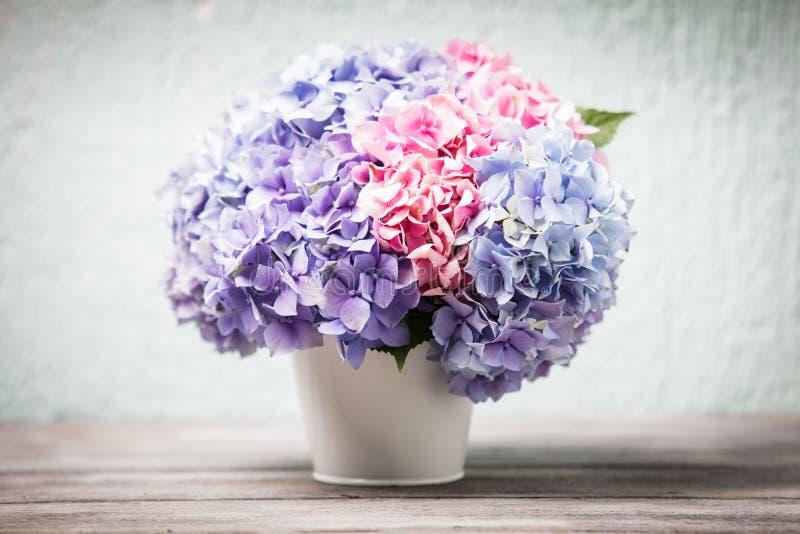Hydrangea hortensiaboeket royalty-vrije stock afbeelding