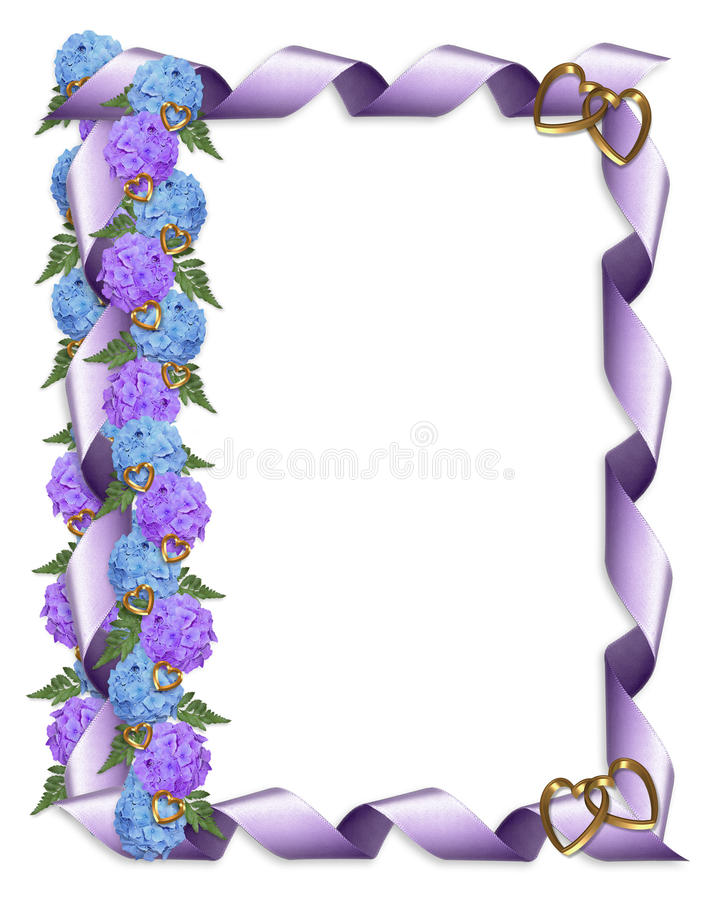 Hydrangeas florais e fita da beira ilustração royalty free