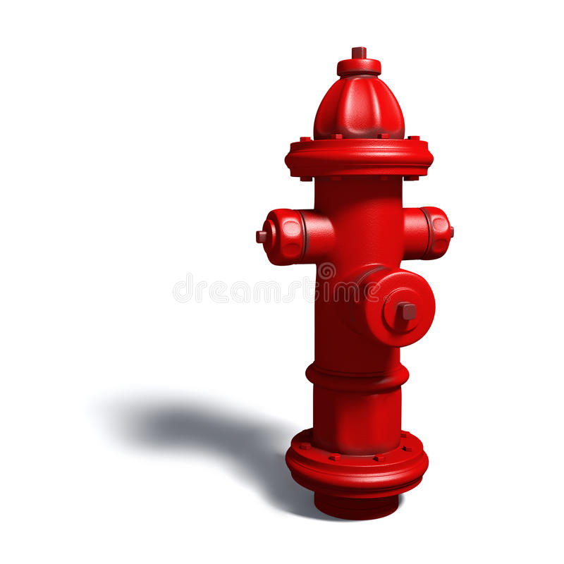 Hydrant. High resolution 3d rendering of a red hydrant isolated over white royalty free illustration