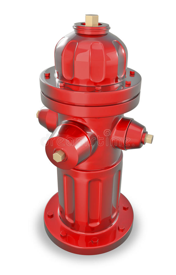Hydrant 3d. In red color royalty free illustration
