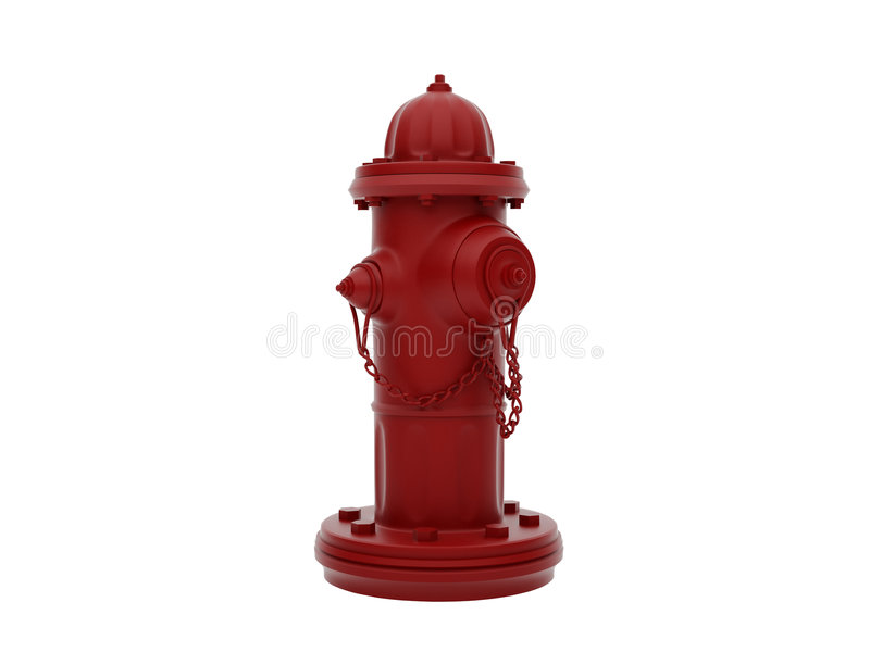 Hydrant. Vintage Red Fire Hydrant isolated over white. High resolution image vector illustration