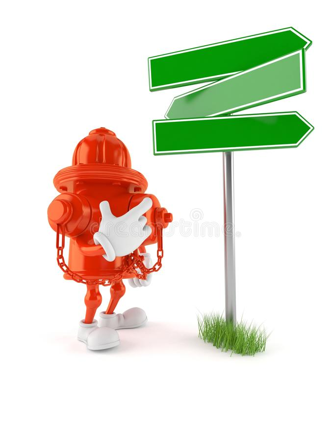 Hydrant character with blank signpost. Isolated on white background. 3d illustration stock illustration
