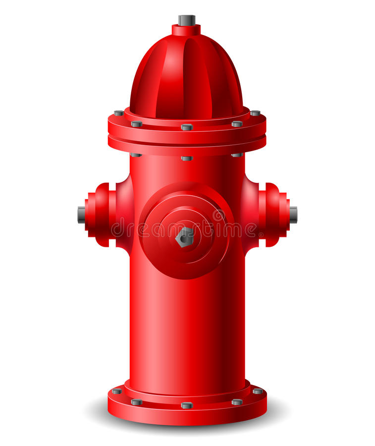Hydrant. Red Hydrant isolated on white vector illustration