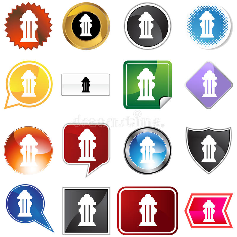 Hydrant Variety Set. Hydrant icon isolated on a white background royalty free illustration
