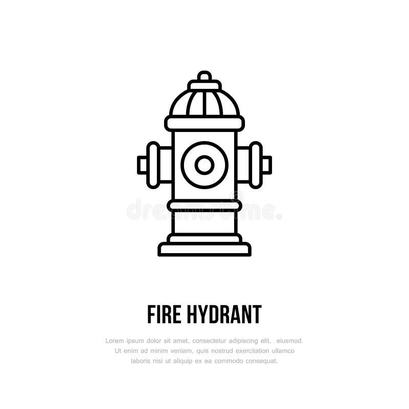 Hydrant-Zeichen Feuerbekämpfung, flache Linie Ikone der Schutzausrüstung vektor abbildung