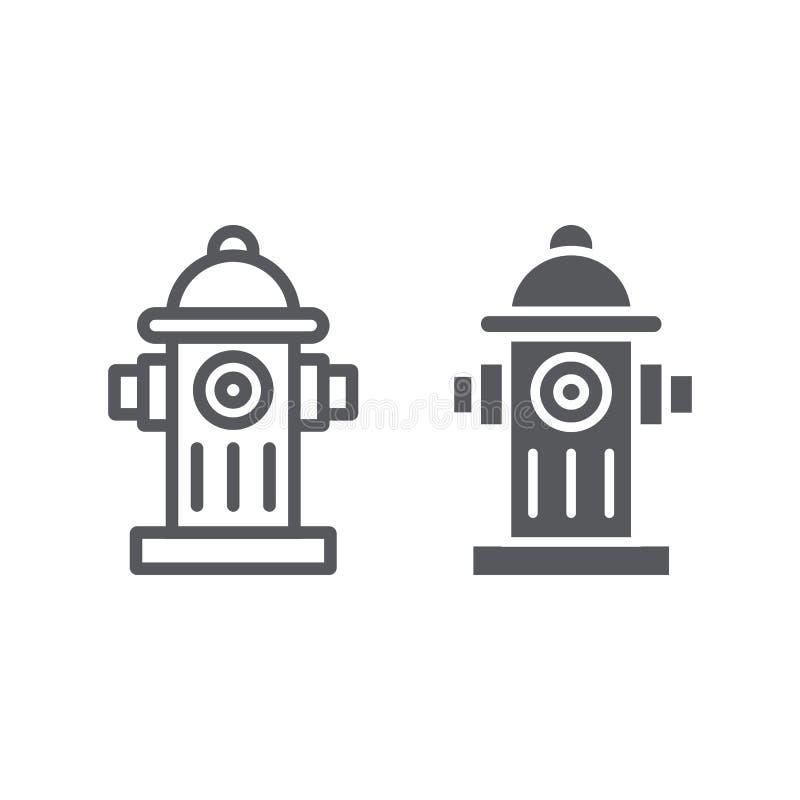 Hydranta systemu linia, glif ikona, wyposażenie i nagły wypadek, gasidła faucet znak, wektorowe grafika, liniowy wzór ilustracja wektor