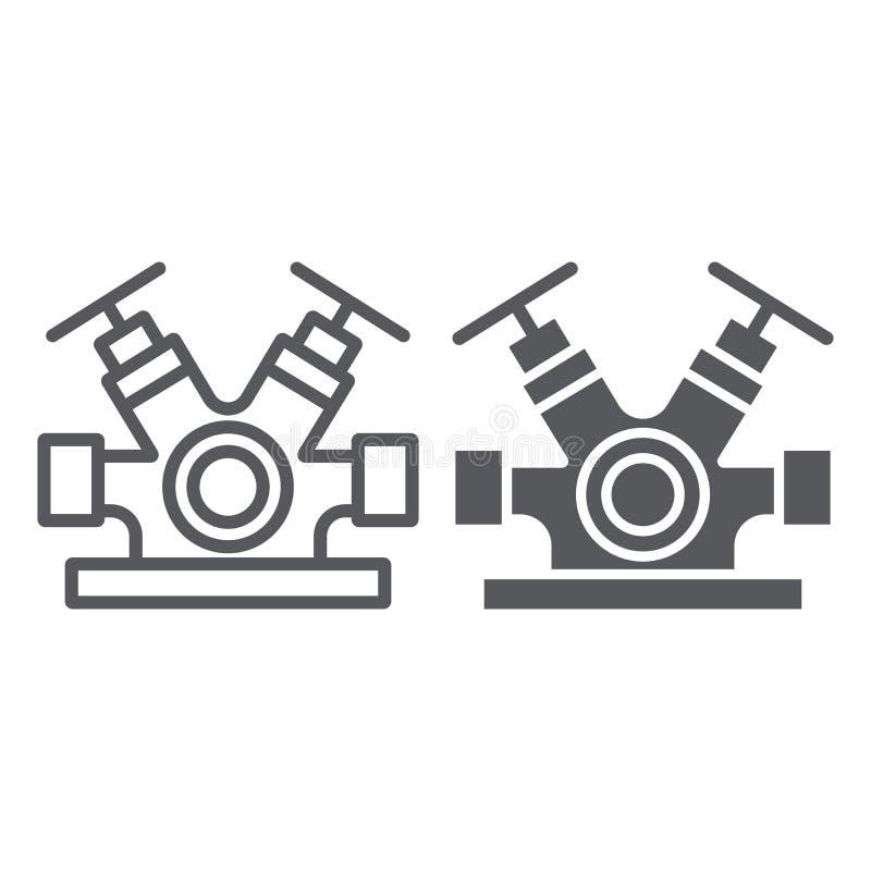 Hydranta systemu linia, glif ikona, wyposa?enie i nag?y wypadek, gasid?a faucet znak, wektorowe grafika, liniowy wz?r royalty ilustracja