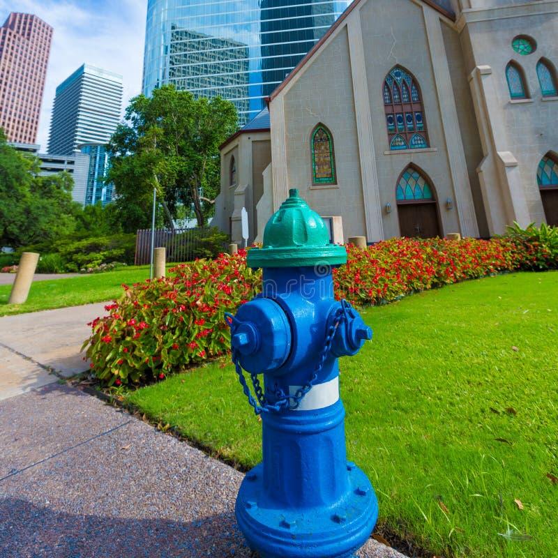 Hydrantblau in Houston Clay St Downtown lizenzfreie stockfotografie