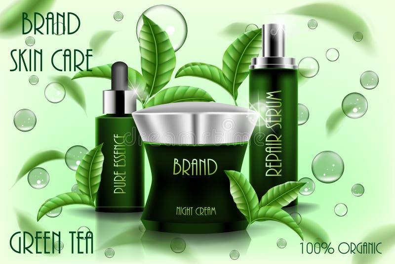 Hydratant le calibre cosmétique d'annonces, conception de produits 3D cosmétique avec des feuilles de thé de vol Crème, sérum de  illustration de vecteur