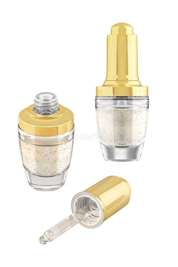 Hydratant le sérum de crayon correcteur d'oeil-soin avec des particules d'or en verre de luxe ouvert et à bac fermé avec le couve photo libre de droits