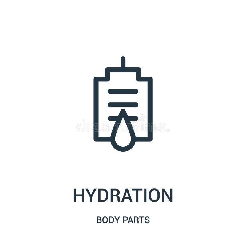 Hydratationsikonenvektor von der Körperteilsammlung Dünne Linie Hydratationsentwurfsikonen-Vektorillustration stock abbildung