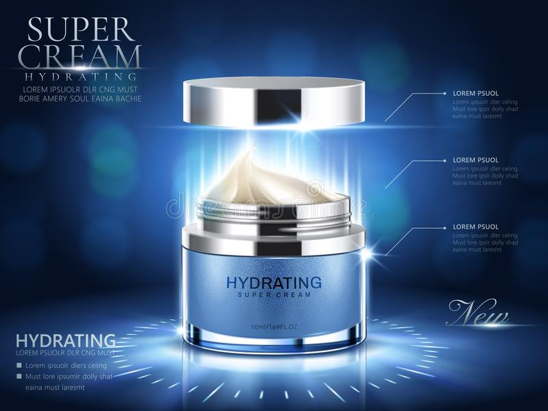 Hydrating cream ads. Blue cream jar with open lid and bokeh background in 3d illustration royalty free illustration