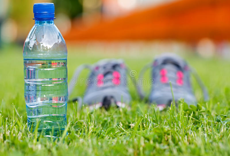 Hydration during workout. Do not forget to bring water during the workout royalty free stock image