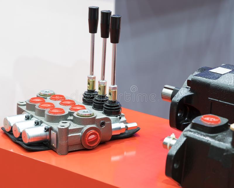Hydraulic Control valve unit for evaculator stock photography