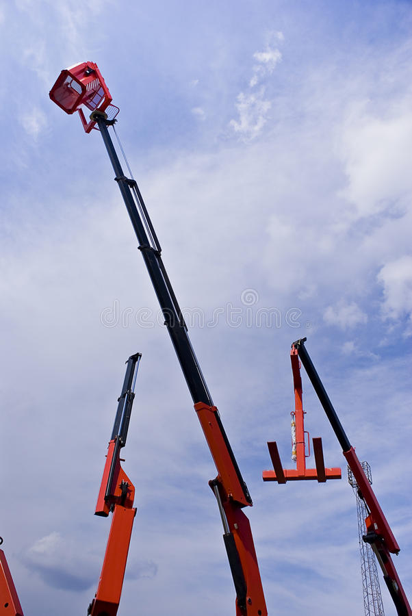 Download Hydraulic Cranes With Cherry Picker Basket Stock Image - Image: 14042761
