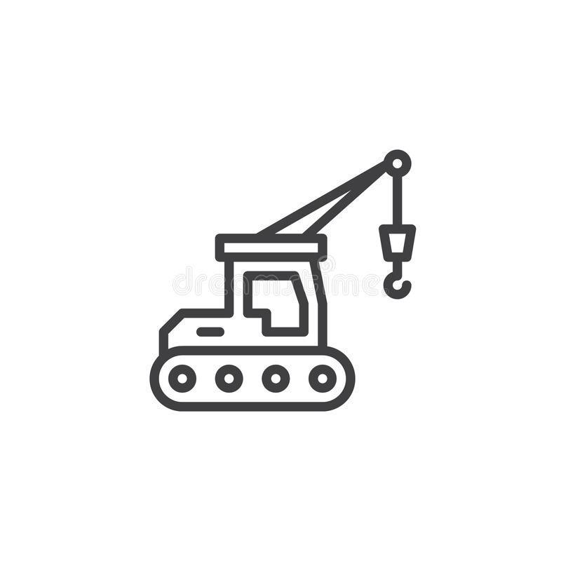 Hydraulic crawler crane line icon vector illustration