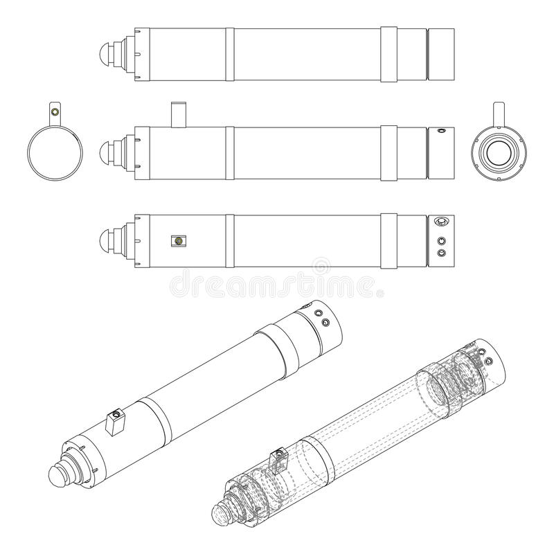 Download Hydraulic Cylinder. Technical Vector Drawing. Stock Vector - Illustration of engineering, hydraulic: 63194392