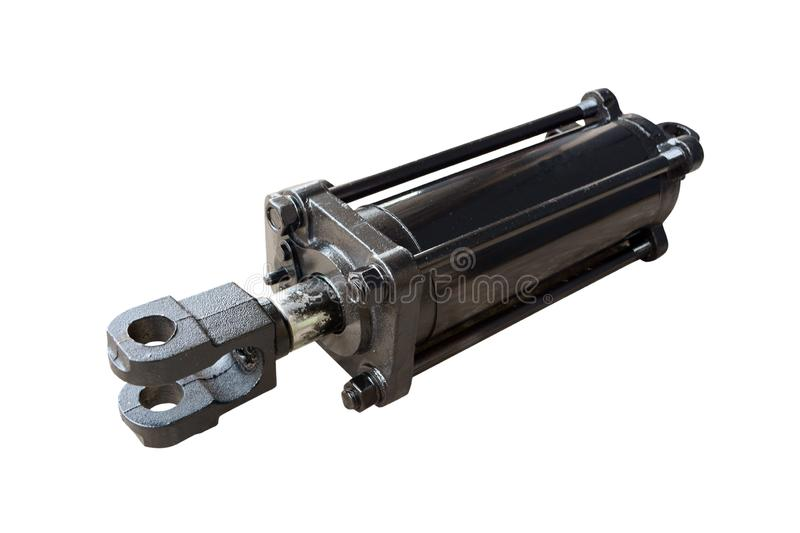 Hydraulic cylinder of the tractor stock photos