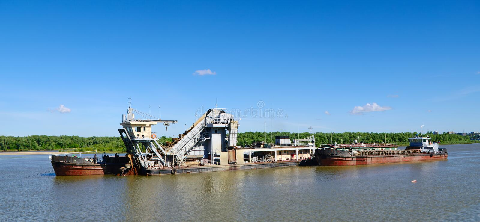 Hydraulic dredge. On river Irtysh Russia royalty free stock images