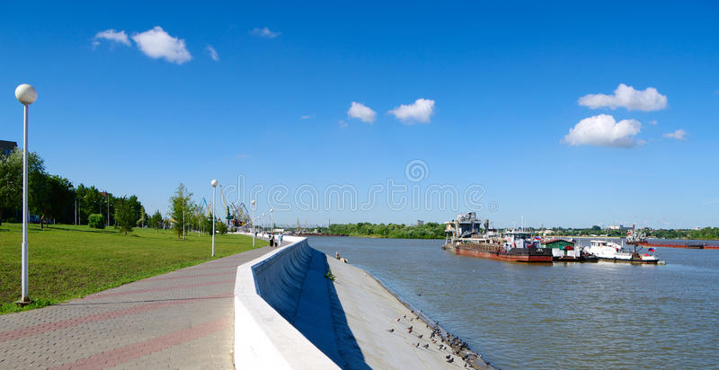 Hydraulic dredge. On river Irtysh Russia royalty free stock photos