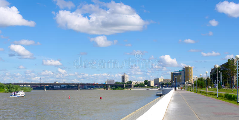Hydraulic dredge. On river Irtysh Russia stock photography